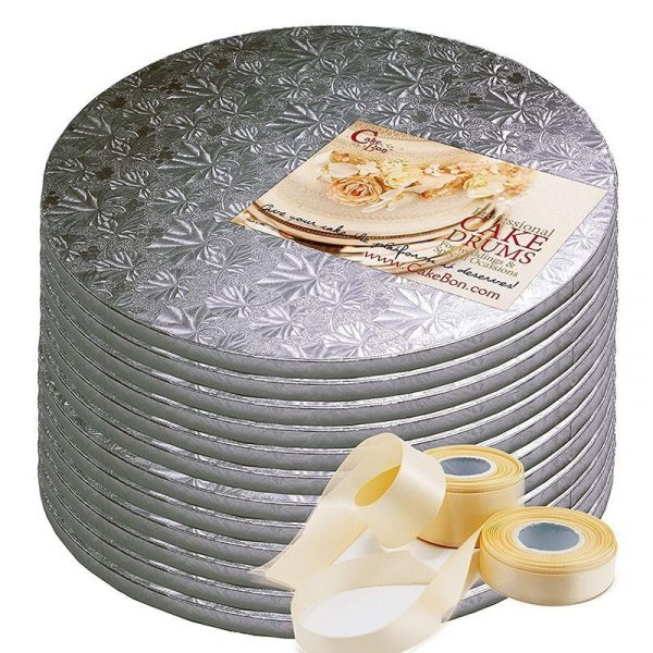 12 Packs Silver Foil Cake Drum Cake Board by Cakebon Available on Amazon Prime