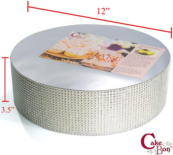 12in Wedding Cake Stand - Silver_cakebon