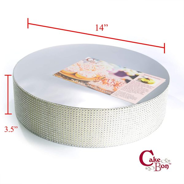 14in Wedding Cake Stand - Silver_cakebon