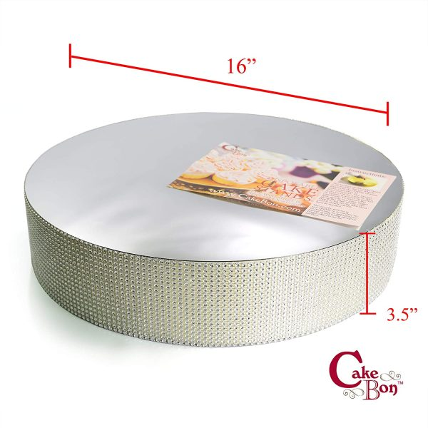 16in Wedding Cake Stand - Silver_cakebon